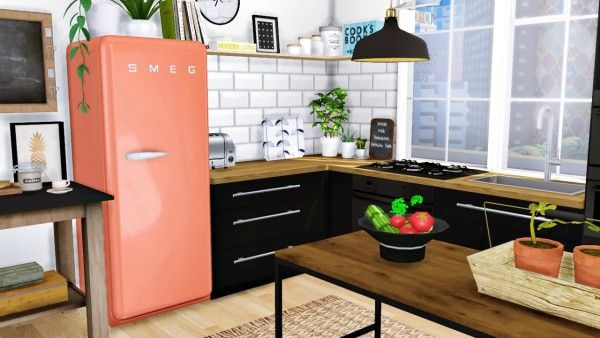 Black Bench For Kitchen Table Display Cabinet Mxims: Cazarupt Smeg Fridge Fixed • Sims 4 Downloads ...