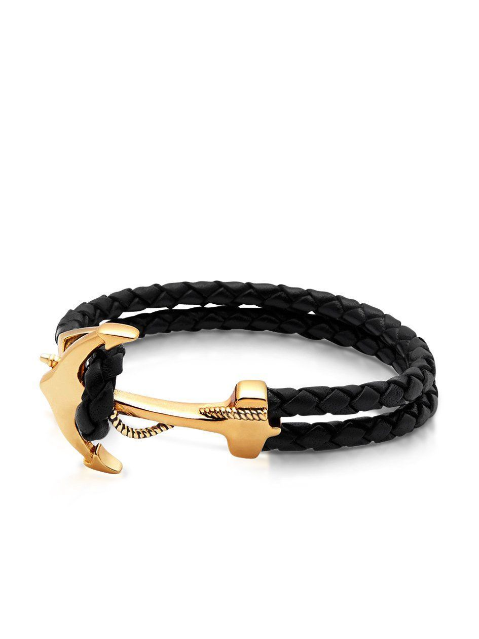 Menus black leather bracelet with gold anchor anchor leather