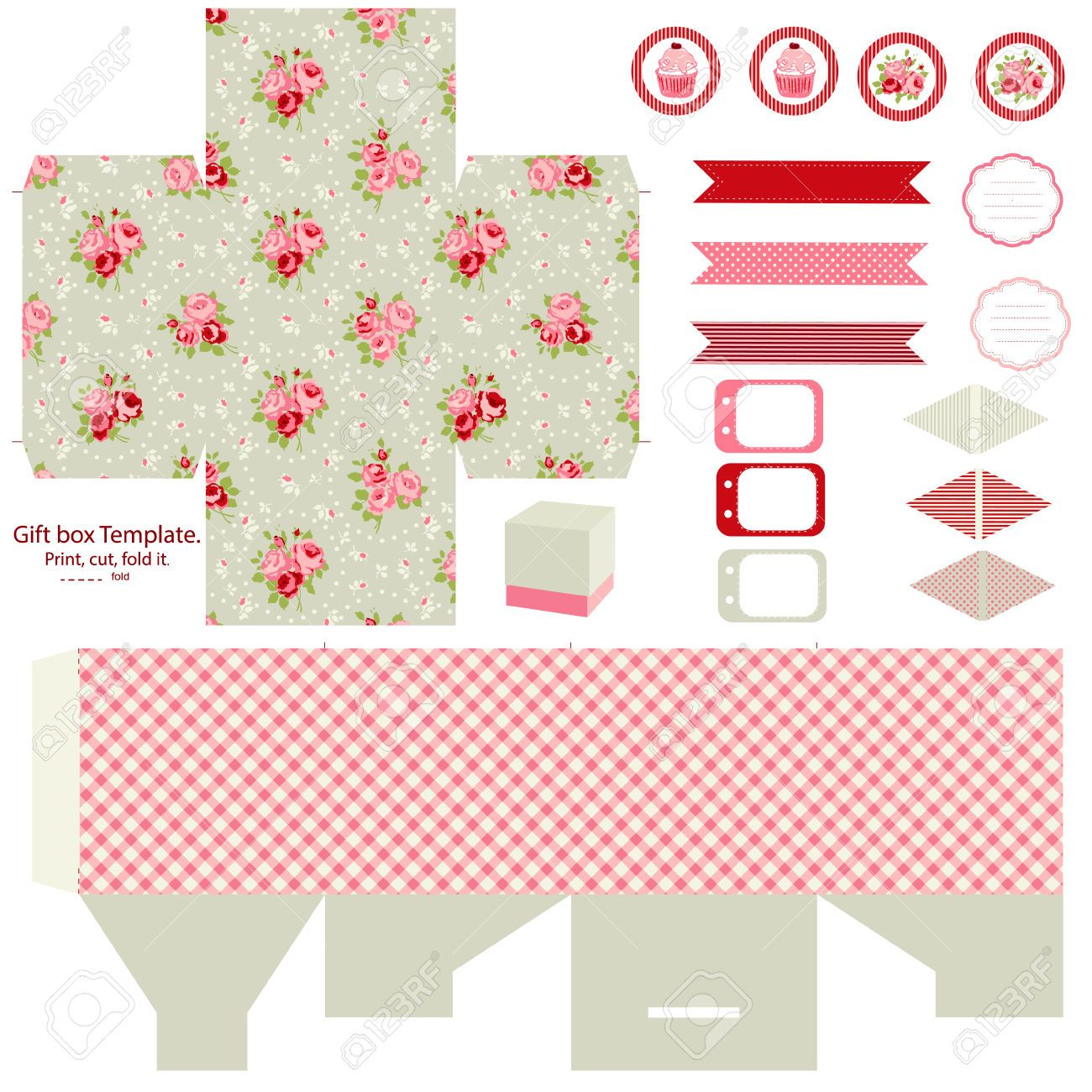 29167641-Party-set-Gift-box-template-Abstract-floral-shabby-chic ...