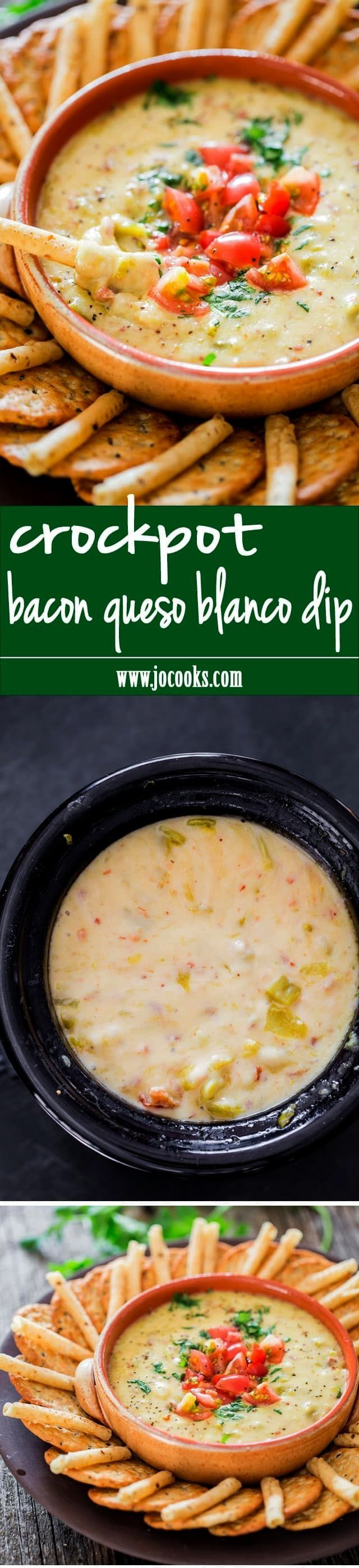 Queso Blanco Dip - super cheesy queso blanco dip with my favorite ingredient; bacon! Perfect snack