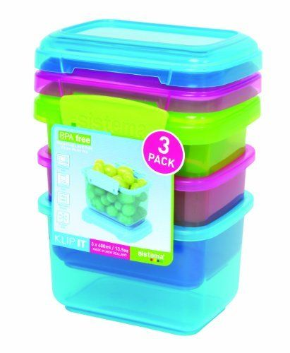 Sistema Klip It 3 By 13 1 2 Ounce Containers Pack Blue Pink Green 8 49 Air Microwave Safe Dishwasher Freezer Bpa Free