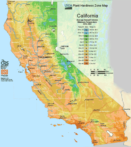 California Planting Zones Usda Map Of California Growing Zones