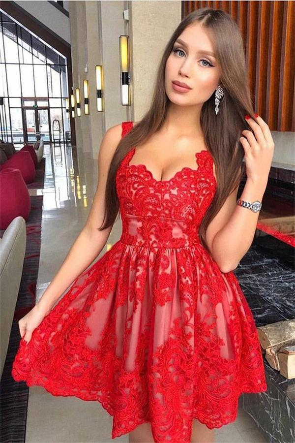 100% high quality latest discount first rate Tight Short Red Lace Homecoming Dresses For Teens Cocktail ...