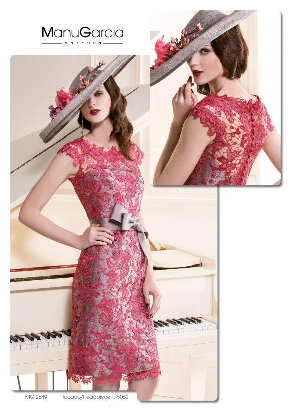 Imagen 43 Detalle del vestido de encaje con gran pamela a juego de ...