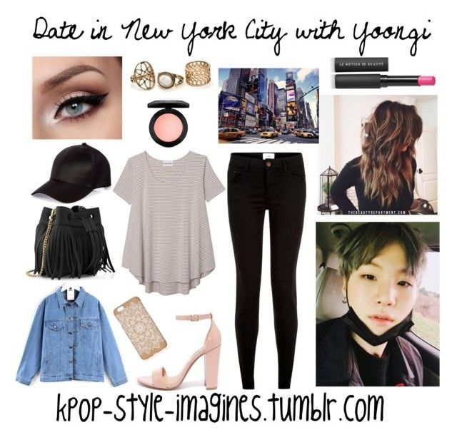"""""""Date in New York City with Yoongi"""" by kpop-style-imagines ❤ liked on Polyvore featuring New Look, Olive + Oak, Steve Madden, Quintess, River Island, Whistles, Le Métier de Beauté and MAC Cosmetics"""