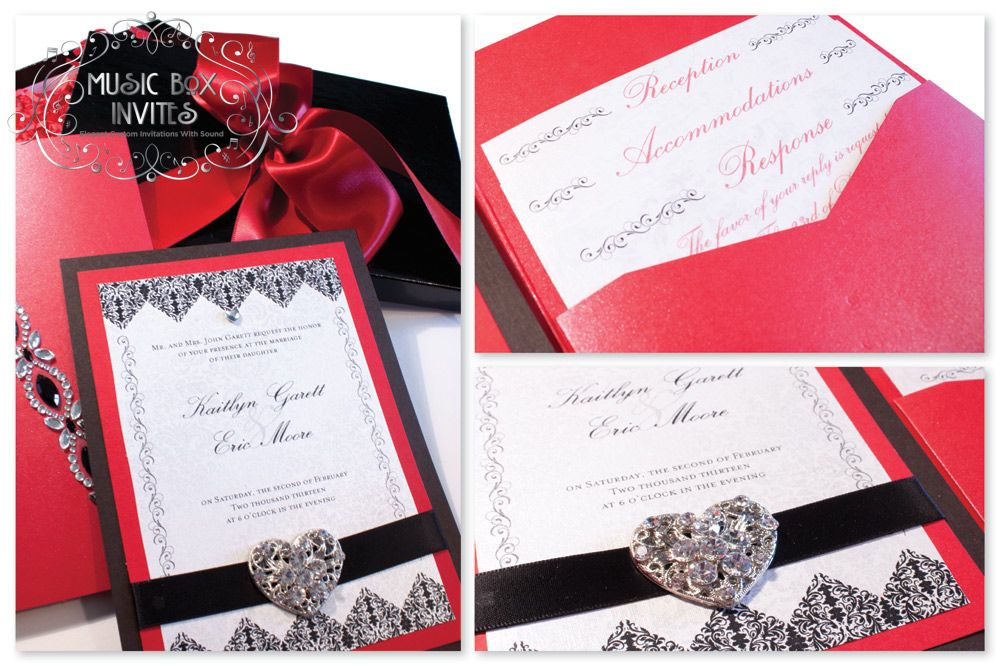 Red White And Black Brocade Romance Musical Wedding Invitation RSVP Card Comes In