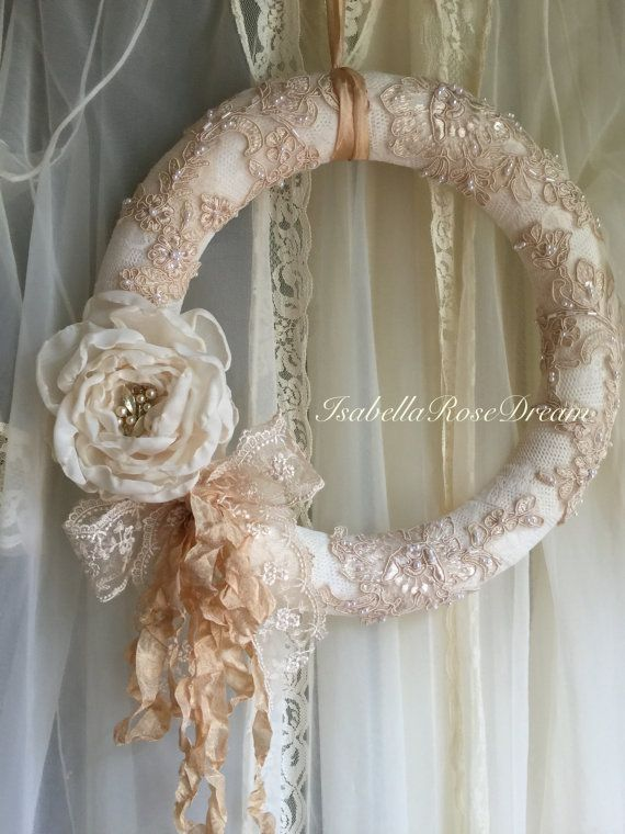 Romantic Wreath Shabby Chic Wreath Cottage By Isabellarosedream - Manualidades-shabby-chic