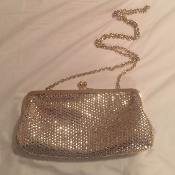 ALDO gold clutch or shoulder purse Used once for company party 12/19 it held my keys, credit card/ID (small little wallet) and a small phone. ALDO Bags Clutches & Wristlets