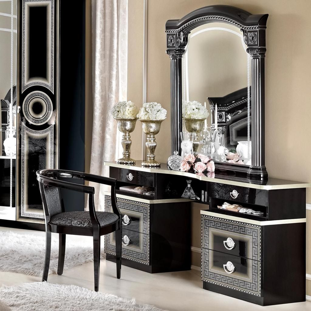 Versace Inspired Black High Gloss U0026 Gold Or Silver Dressing Table