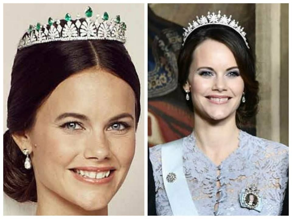 Princess Sofia in her wedding tiara. A new look revealed at a state banquet on the 23 of November 2017. Emeralds taken off and tiara fitted more like a kokoshnik tiara.