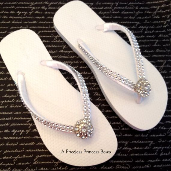 White Wedding Flip Flops Womens Prom Bridal By -4676