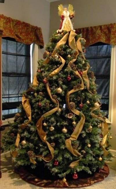 X MAS TREE WITH RIBBON X MAS Pinterest Christmas Tree  - Pictures Of Christmas Trees Decorated With Ribbon