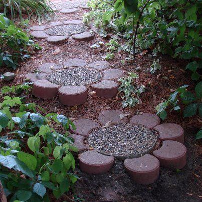 DIY flower stones for garden path