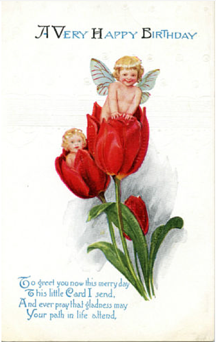 Tulip Girls vintage birthday card