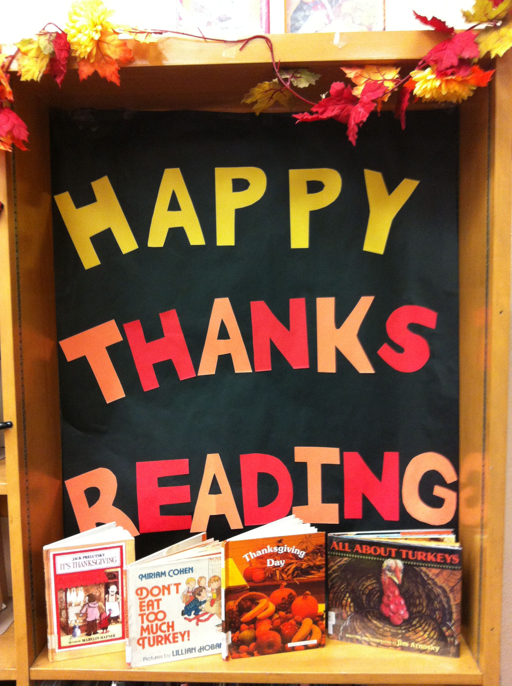 Thanksgiving Display In The School Library