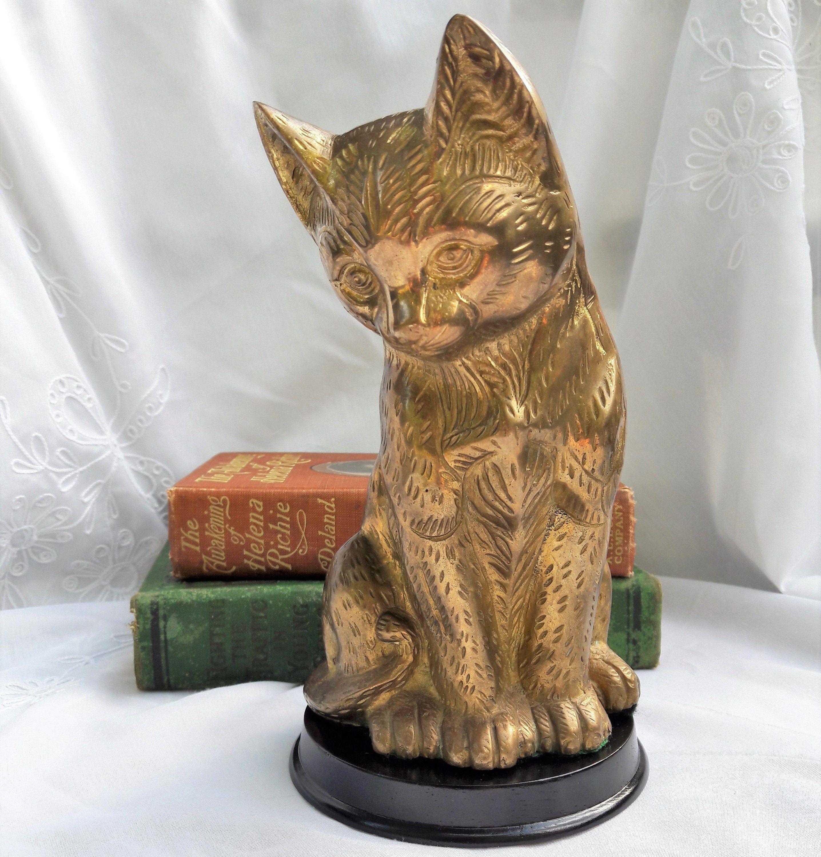 "Vintage Cat Statue, 8"" Tall Brass Golden Cats Figurine"