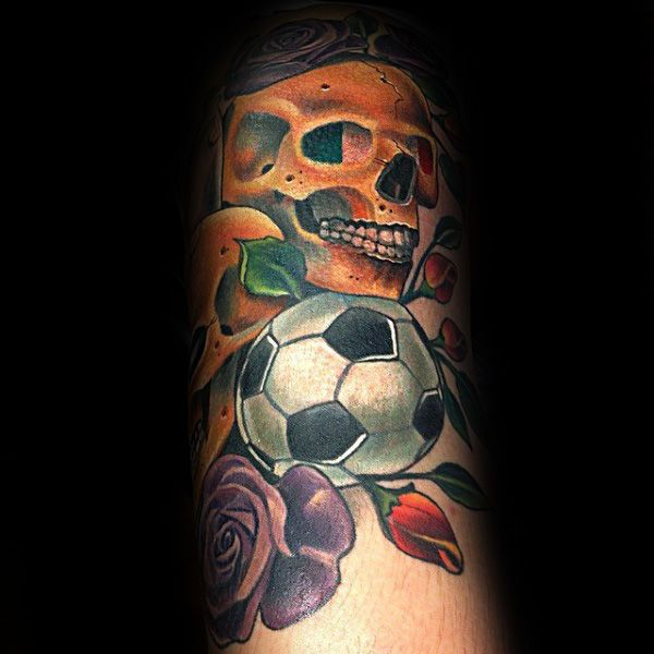 Skull With Soccerball And Roses Mens Forearm Tattoo Designs | Xăm ...