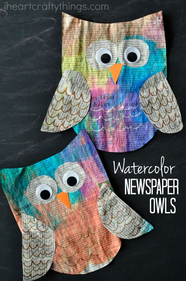 This colorful newspaper owl craft for kids is super bright and beautiful and makes a great kids craft for Earth Day since it is made out of newspaper.