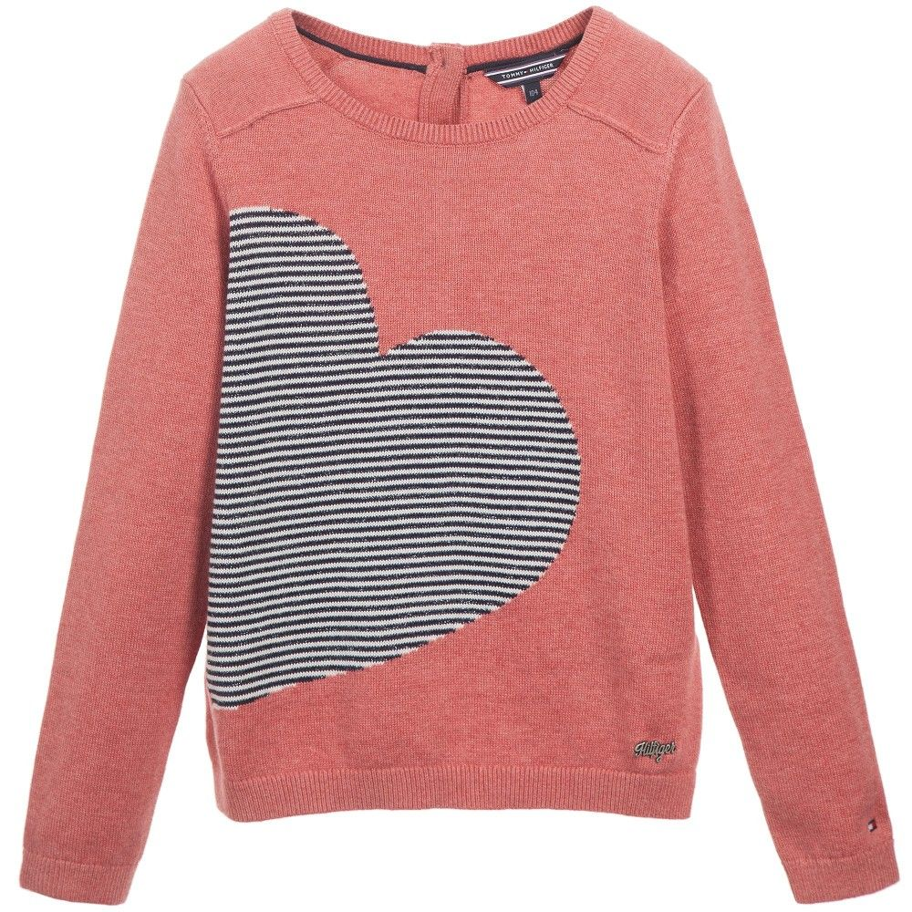 Girls Dark Pink & Striped Heart Sweater | Tommy hilfiger and Badges