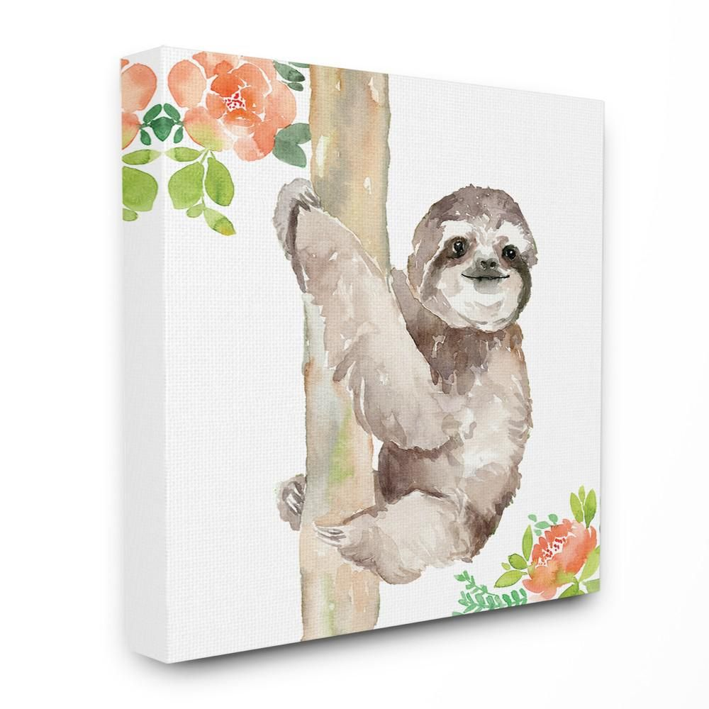 Stupell Industries 30 In X 30 In Tropical Sloth With Peach Flowers Watercolor By Elise Watercolor Canvas Wall Art Stretched Canvas Wall Art Canvas Wall Art