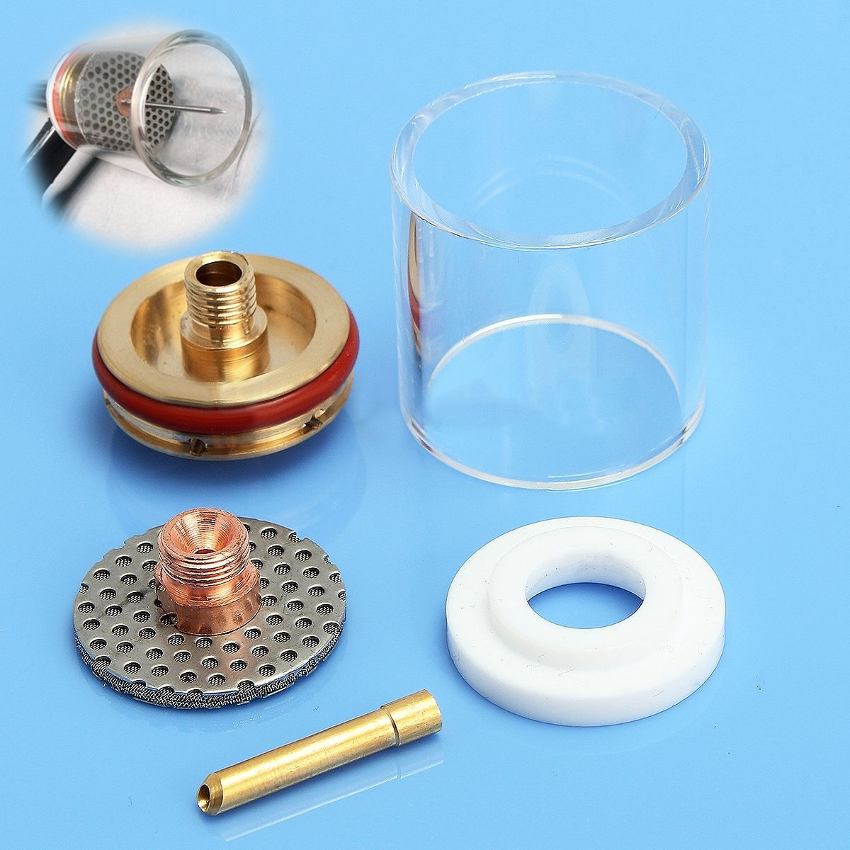 Jumbo Champagne TIG Welding Weld Pyrex Cup Kit Torches 17//18//26 Gas Lens  # /<.
