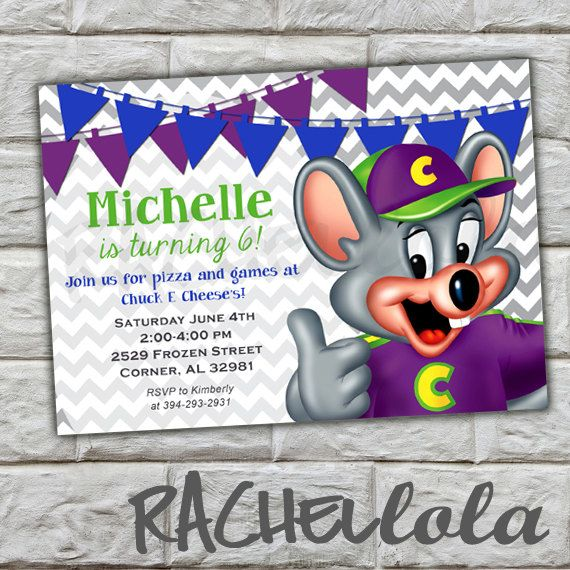 chuck e. cheese banner birthday party invitation, diy, printable, Birthday invitations