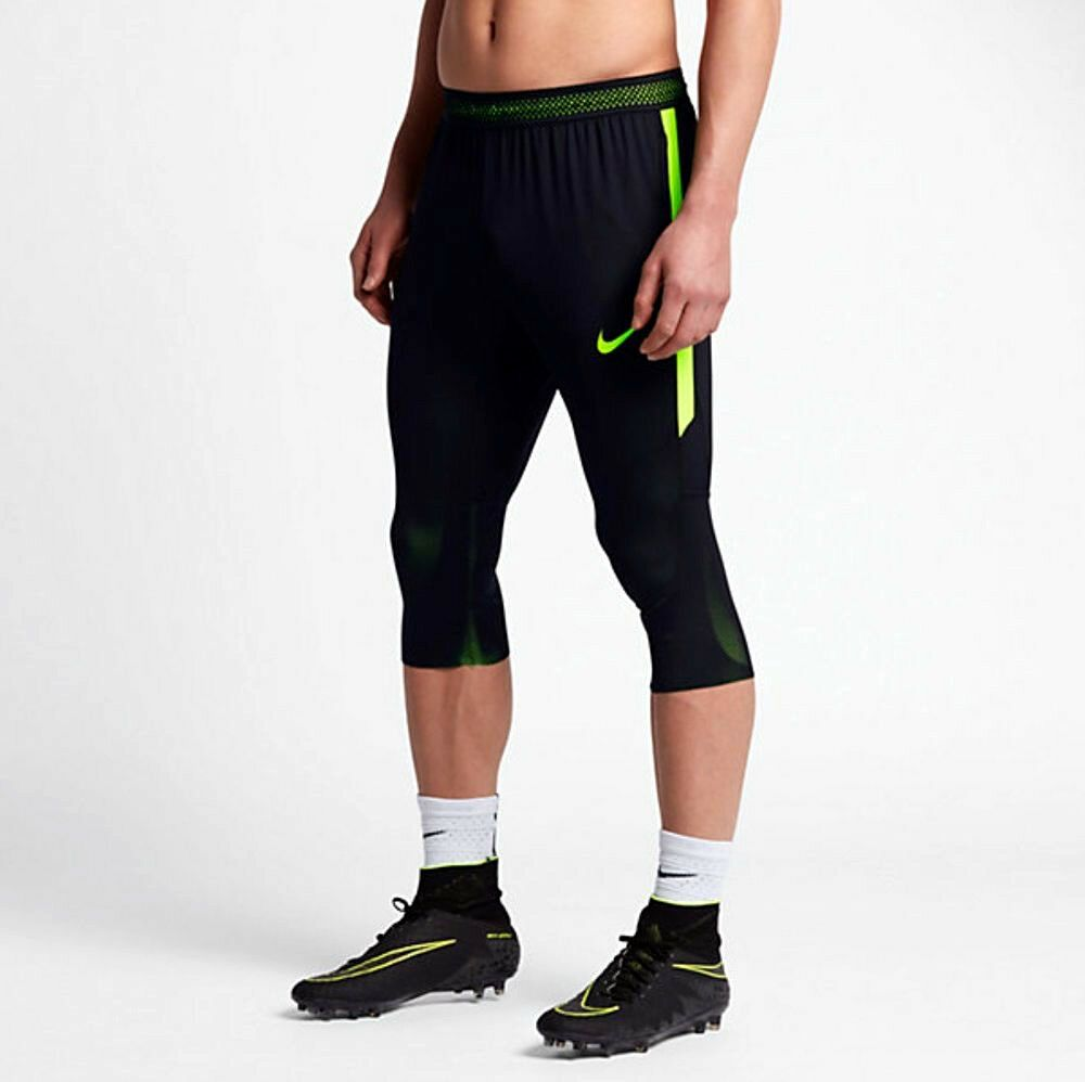 0bdbd7f6267c5 NIKE DRY STRIKE SOCCER FOOTBALL FUTBOL TRAIN 3 4 PANTS BLACK VOLT  807688-014 M  Nike  ActivewearPants