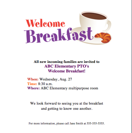 Welcome Breakfast Invite! Get Families Together To Kick Off School Year!  Invitation For A Get Together