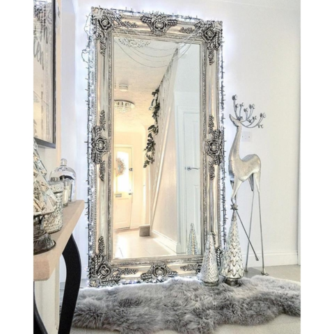 Baroque Grande Platinum Silver Ornate Rectangular Mirror 72 X 36 180cm X 90cm Large Vintage Mirror Dressing Room Mirror Living Room Mirrors