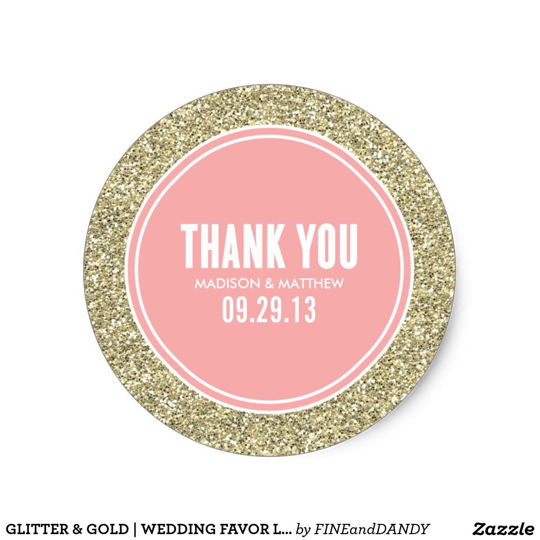 GLITTER & GOLD   WEDDING FAVOR LABELS CLASSIC ROUND STICKER ...