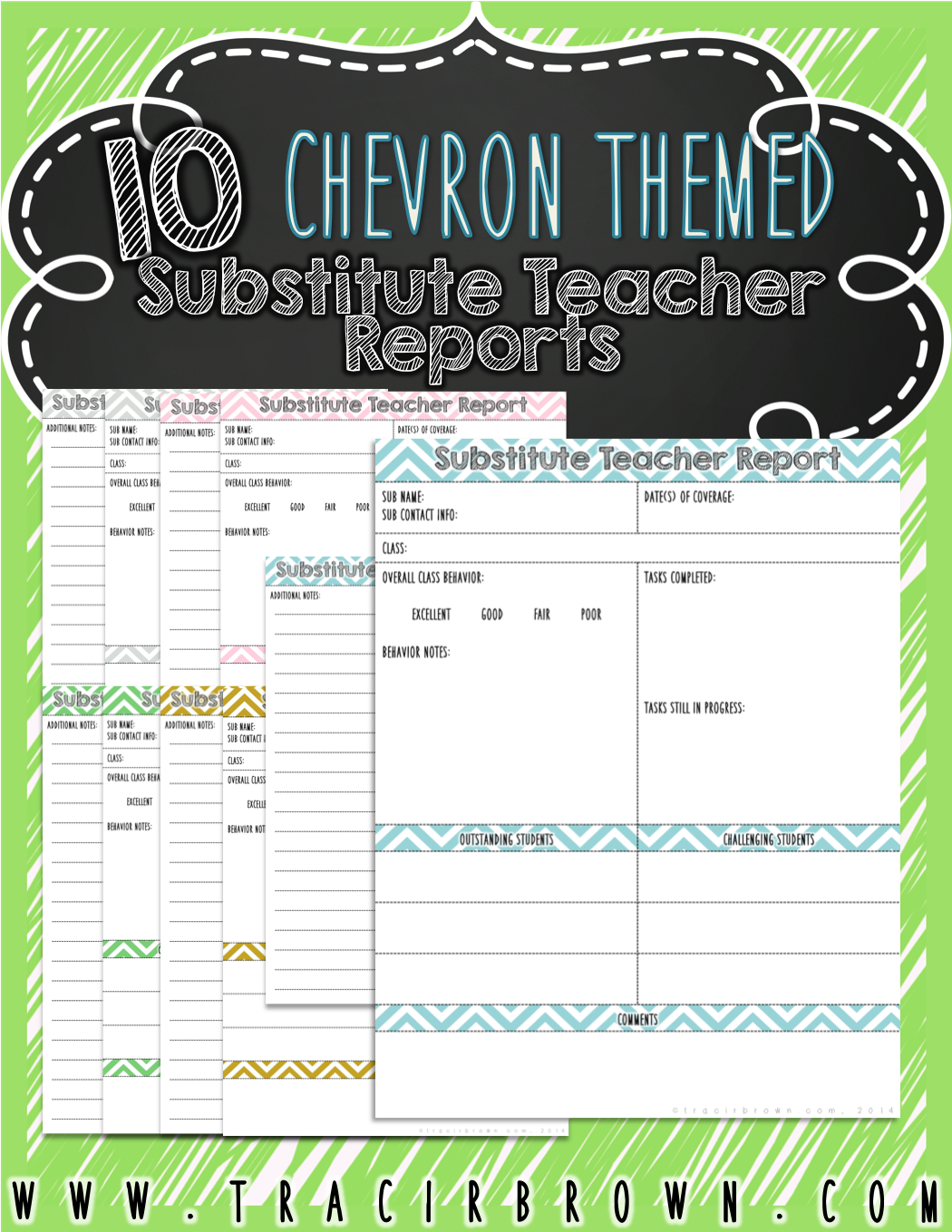 substitute teacher report pack features chevron theme and light colors for ink friendly printing