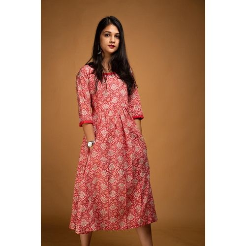3d66580758 Red Floral Hand Block Print Midi Dress in 2019 | Beautiful outfits ...