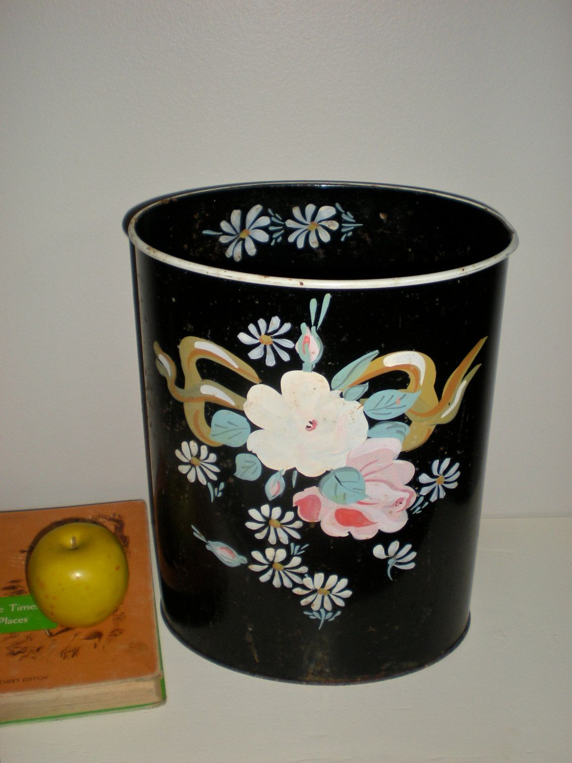 Shabby Chic Waste Baskets Ransburg Trash Basket Can Bin Black Metal Tole Painted Flowers