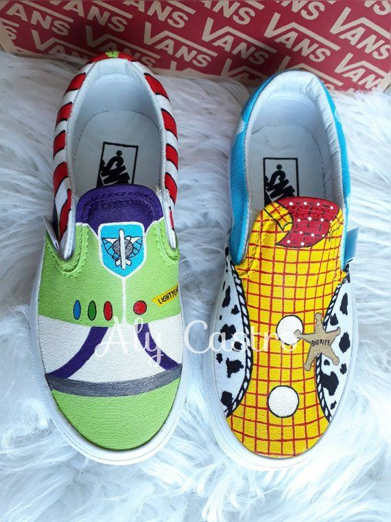99df7dd3626 VANS Toy Story Woody and Buzz custom shoes in 2019