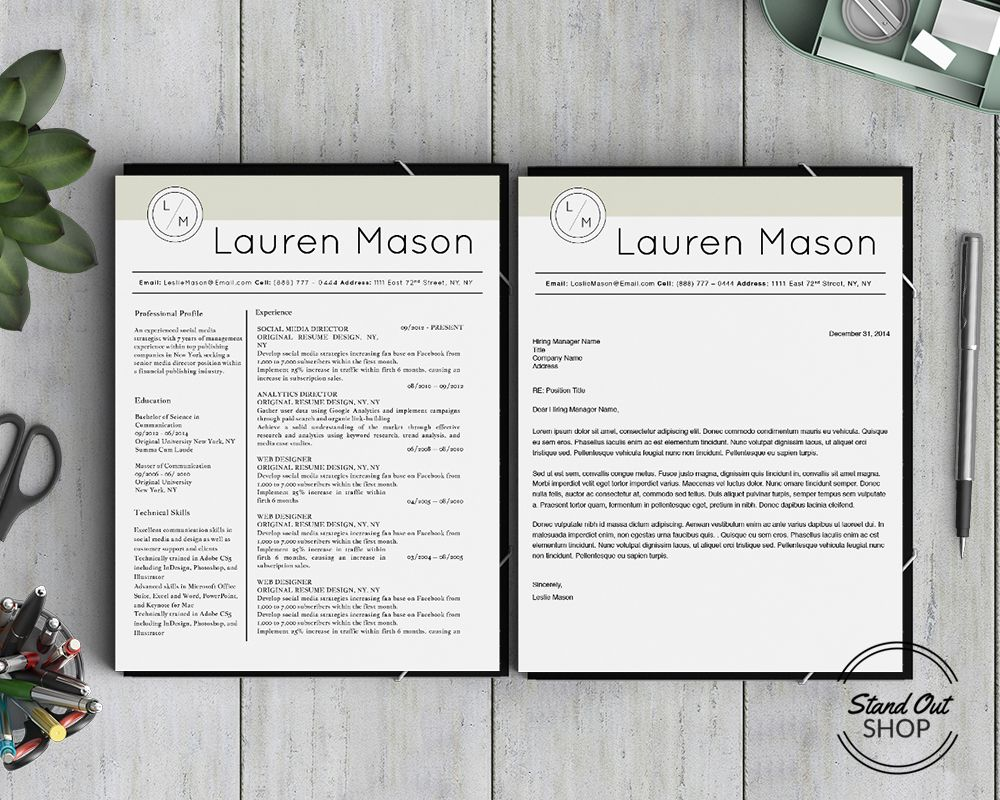 Lauren Mason Resume Template  Stand Out Shop  Resumes