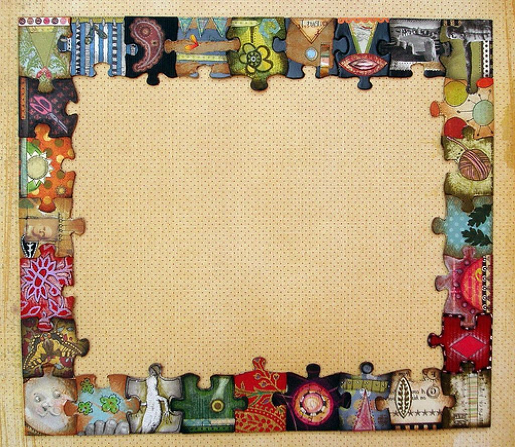 Jigsaw puzzle frame design with cardboard material paper glue altered puzzle pieces frame for a cork board jeuxipadfo Images