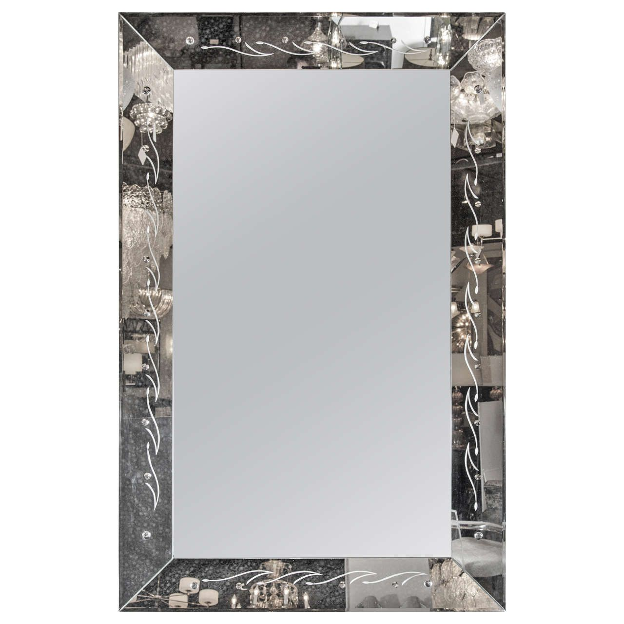 Williams sonoma home five panel beveled mirror - 1940s Hollywood Hand Beveled Mirror With Reversed Etched Detailing 1