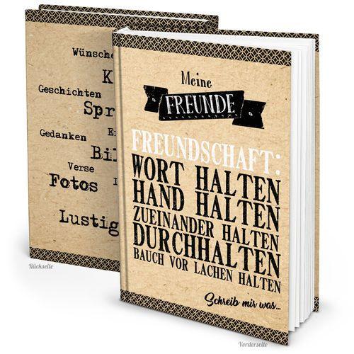 XXL Freundschaftsbuch Freundebuch Kraftpapier Optik Schwarz Braun Weiß DIN  A4 164 Seiten   Einschreibbuch Blanko