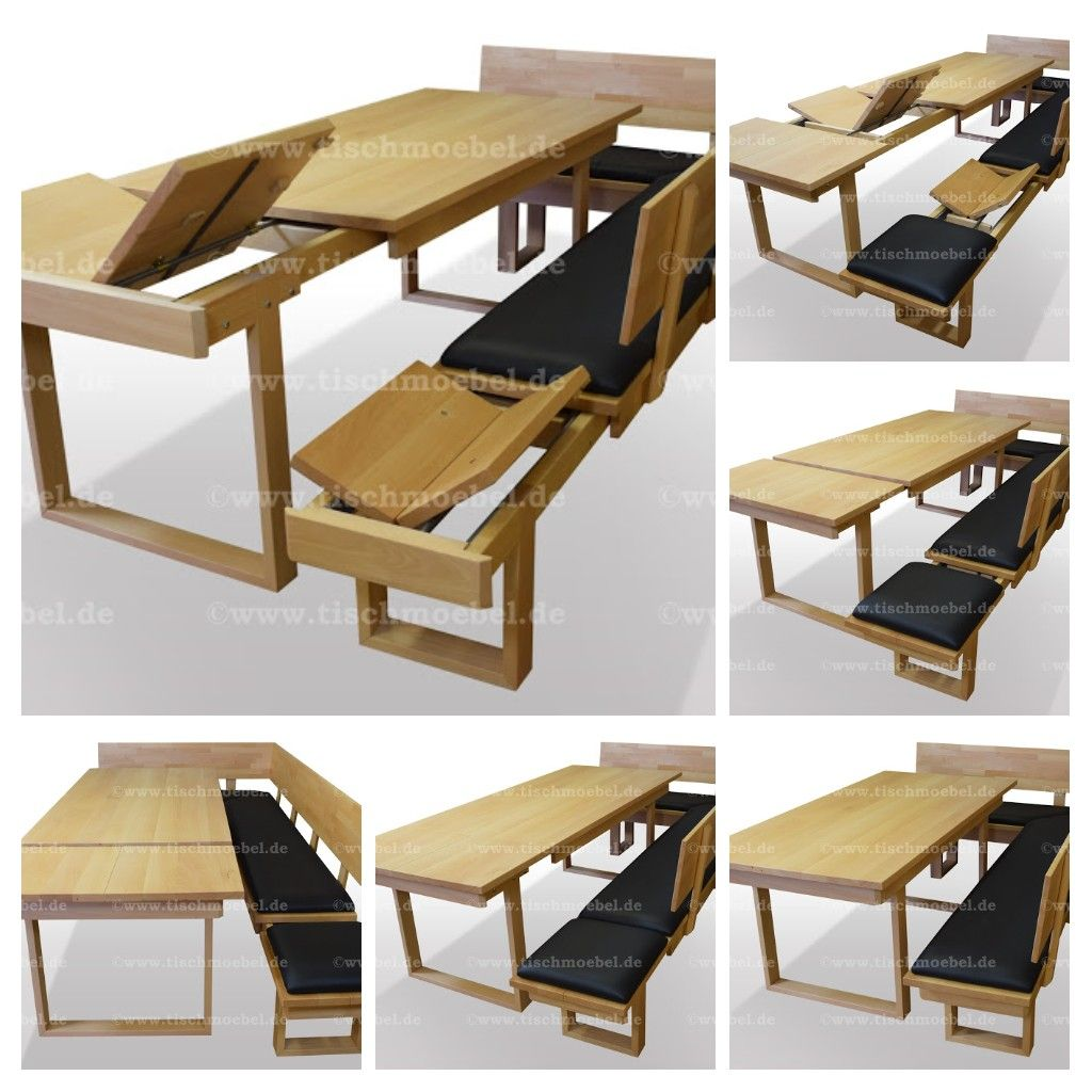 Esstisch Buche massiv auf UProfilen aus Holz, ausziehbar