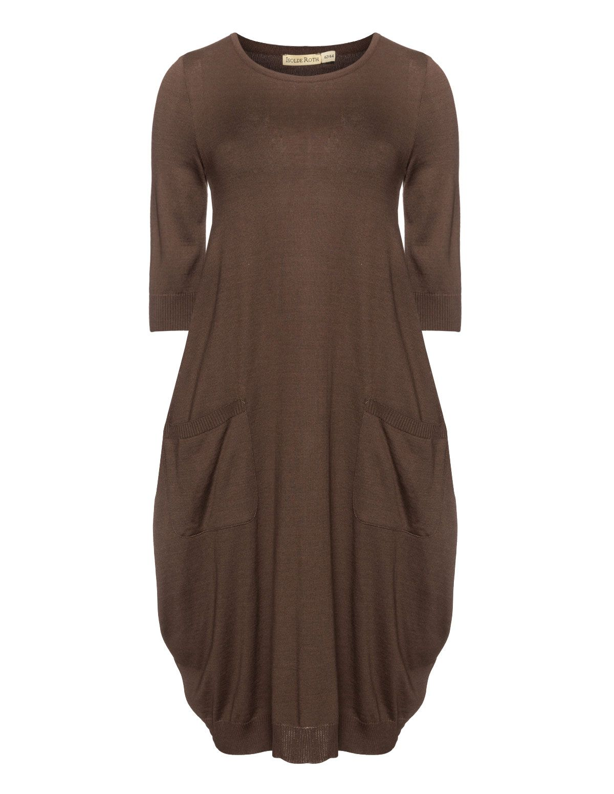 0d0a4493c84f79 Isolde Roth Fine knit balloon dress in Brown Jurken In Grote Maten, Grote  Mode Maten