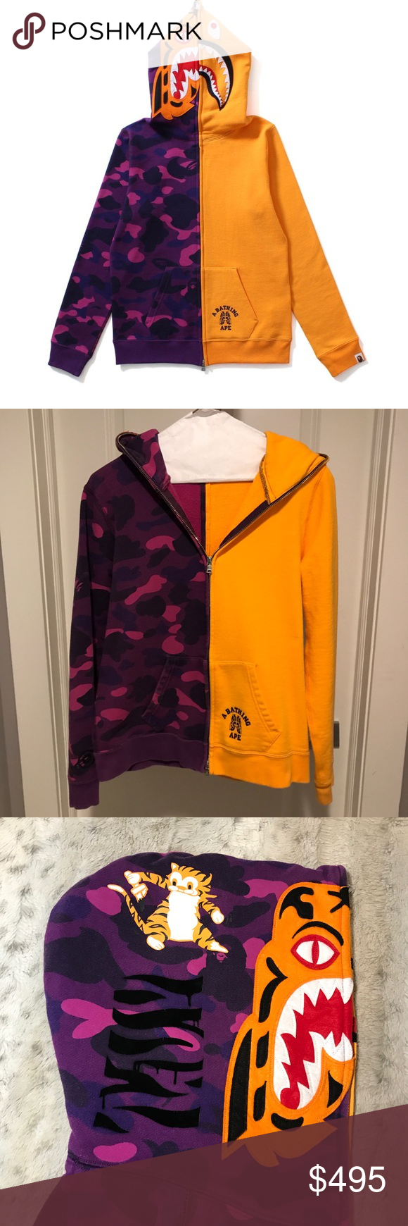 8b0cec0e 🔥BAPE Color Camo Tiger Shark Half Full Zip Hoodie 🔥BAPE Color Camo Tiger  Shark Half Full Zip Hoodie (Ladies) Purple/ Orange. Ladies size small  (Japanese ...