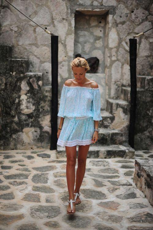 off the shoulder blue summer dress