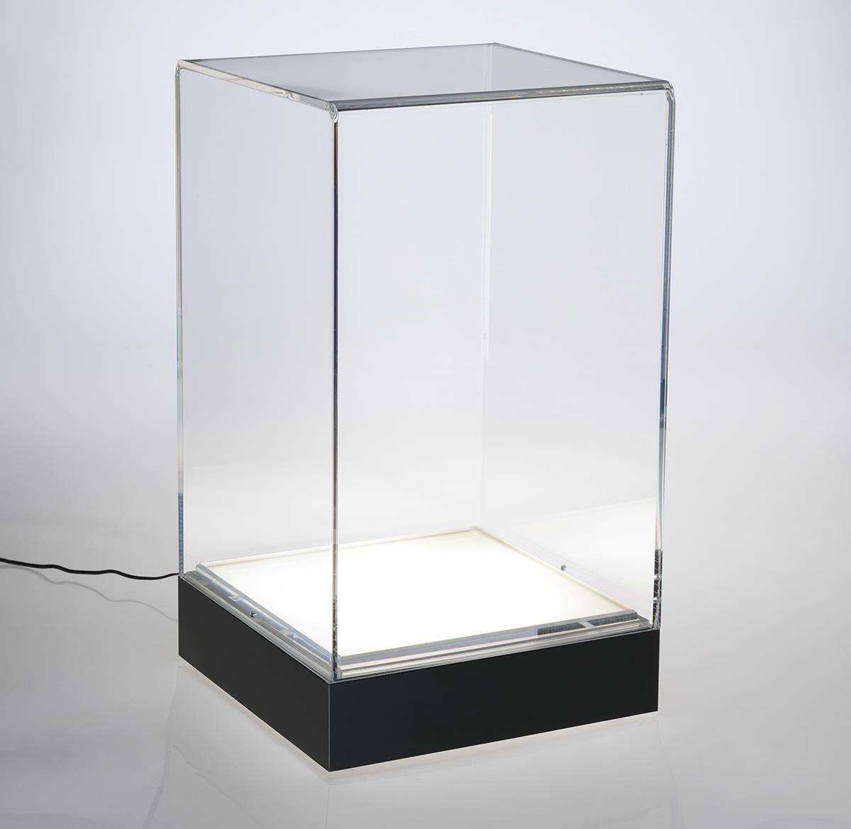 13 Countertop Pedestal Display Case W Interior Led Base Black