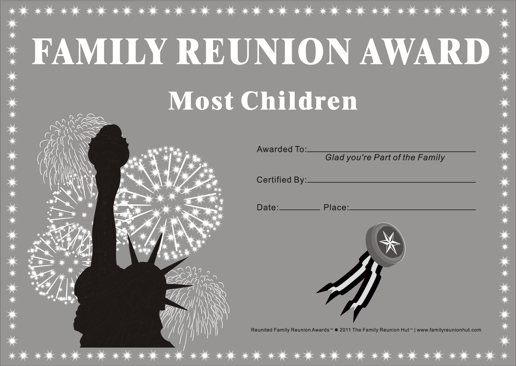 family reunion certificates country pride 17 is a free family reunion award by the family reunion hut by eastgeneral