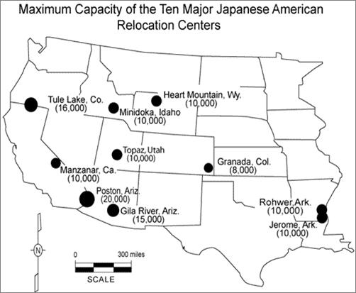 Cc3 Hist Wk 18 Maximum Capacity Of Japanese Internment Camps To - Map-of-japanese-internment-camps-in-the-us