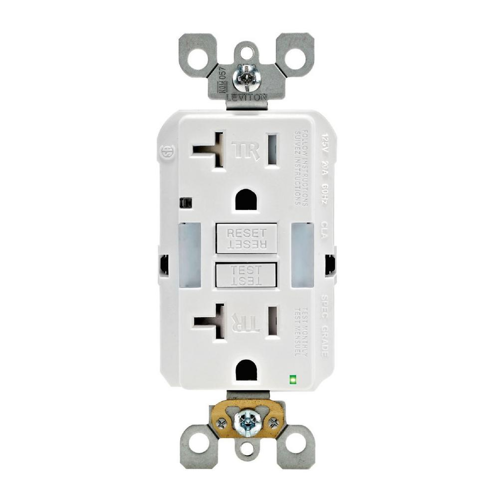 Leviton 20 Amp Self Test Smartlockpro Combo Duplex Guide Light And Tamper Resistant Gfci Outlet White R92 Gfnl2 00w The Home Depot In 2020 Leviton Gfci Receptacles