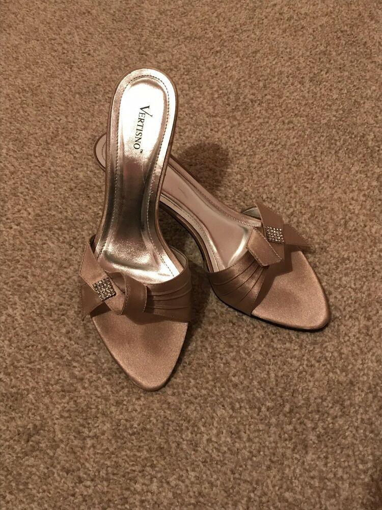 Stunning Mink Colour Satin Sandals Kitten Heel Shoe With