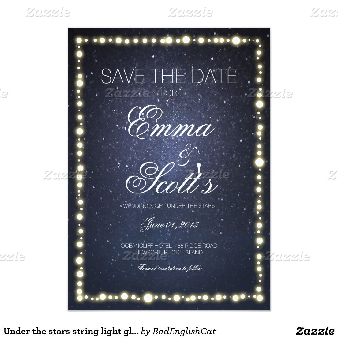 under the stars string light glow save the date in 2018