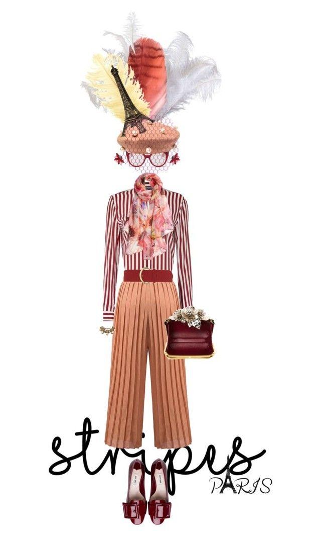 """Stand out stripes"" by ajkc ❤ liked on Polyvore featuring Miu Miu, Radà, Tommy Hilfiger, Dorothy Perkins, Jimmy Choo, Elizabeth Gillett, Gucci, Oscar de la Renta and stripes"