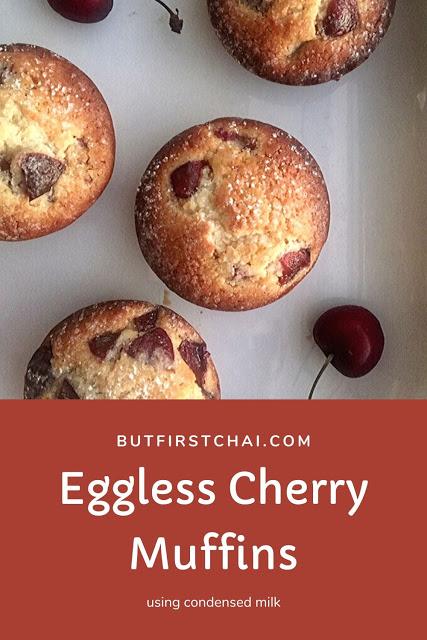 Eggless Cherry Muffins Using Condensed Milk And Almond Flour In 2020 Cherry Muffins Cherry Desserts Almond Muffins